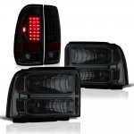 Ford F550 Super Duty 2005-2007 Tinted Headlights Black Smoked LED Tail Lights