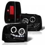 Ford F350 Super Duty 2005-2007 Black Smoked Halo Projector Headlights LED Tail Lights