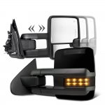 Chevy Silverado 3500HD 2007-2014 Glossy Black Towing Mirrors Smoked LED Signal Lights Power Heated