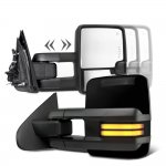 Chevy Silverado 2007-2013 Glossy Black Towing Mirrors Smoked Tube LED Lights Power Heated