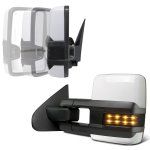 Chevy Silverado 3500HD 2015-2019 White Power Folding Towing Mirrors Smoked LED Lights Heated