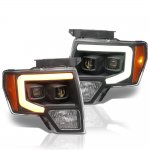 Ford F150 2009-2014 Black Projector Headlights Switchback LED DRL Signal Lights