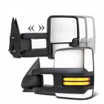 Chevy Silverado 3500 2003-2006 Chrome Towing Mirrors Smoked Tube LED Lights Power Heated