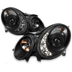 Mercedes Benz E Class 2003-2006 Black HID Projector Headlights with LED DRL