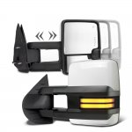 Chevy Silverado 2007-2013 White Towing Mirrors Smoked Tube LED Lights Power Heated