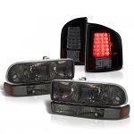 2002 Chevy S10 Smoked Headlights Set Black Tinted LED Tail Lights