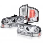2002 Chevy S10 Halo Projector Headlights Set Clear LED Tail Lights