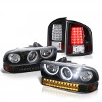2002 Chevy S10 Black Halo Projector Headlights LED Bumper Lights and LED Tail Lights