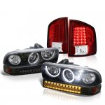 Chevy S10 1998-2004 Black Halo Projector Headlights LED Bumper Lights Red LED Tail Lights