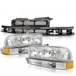 2002 Chevy S10 Black Grille and Clear Headlights Set