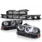 2002 Chevy S10 Black Grille LED Halo Projector Headlights Set