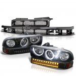 Chevy S10 1998-2004 Black Grille Halo Projector Headlights LED Bumper Lights