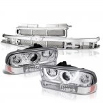 Chevy S10 1998-2004 Chrome Grille LED Halo Projector Headlights Set
