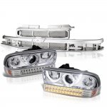 Chevy S10 1998-2004 Chrome Grille Halo Projector Headlights LED Bumper Lights