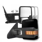 Toyota Sequoia 2008-2020 Glossy Black Towing Mirrors LED Lights Power Heated