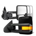 Toyota Sequoia 2008-2019 Glossy Black Towing Mirrors Tube LED Power Heated