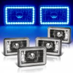 VW Jetta 1980-1984 Blue LED Halo Black Sealed Beam Headlight Conversion Low and High Beams