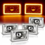 1985 Cadillac Cimarron Amber LED Halo Sealed Beam Headlight Conversion Low and High Beams