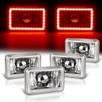 1988 Plymouth Gran Fury Red LED Halo Sealed Beam Headlight Conversion Low and High Beams