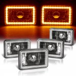 GMC Suburban 1981-1988 Amber LED Halo Black Sealed Beam Headlight Conversion Low and High Beams