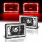 1987 Chevy C10 Pickup Red LED Halo Black Sealed Beam Headlight Conversion