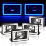 VW Jetta 1980-1984 Blue Halo Tube Black Sealed Beam Headlight Conversion Low and High Beams