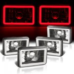 VW Jetta 1980-1984 Red Halo Tube Black Sealed Beam Headlight Conversion Low and High Beams