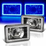 1987 Chevy C10 Pickup Blue LED Halo Black Sealed Beam Projector Headlight Conversion