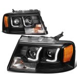2004 Ford F150 Black LED DRL Projector Headlights