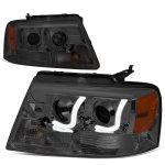 2004 Ford F150 Smoked LED DRL Projector Headlights