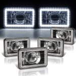 VW Jetta 1980-1984 LED Halo Black Sealed Beam Projector Headlight Conversion Low and High Beams