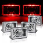 Dodge Ram 50 1984-1986 Red Halo Black Chrome Sealed Beam Projector Headlight Conversion Low and High Beams