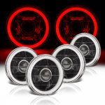 Mazda RX3 1973-1976 Red Halo Tube Black Sealed Beam Projector Headlight Conversion