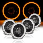 Mazda RX4 1974-1976 Amber Halo Tube Black Sealed Beam Projector Headlight Conversion