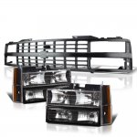 1991 Chevy 1500 Pickup Black Grille and Headlights Set