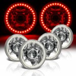 1974 Buick Riviera Red LED Halo Sealed Beam Projector Headlight Conversion