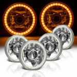 1969 Chevy Caprice Amber LED Halo Sealed Beam Projector Headlight Conversion