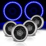 1969 Ford Mustang Blue LED Halo Black Sealed Beam Projector Headlight Conversion