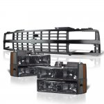 Chevy 3500 Pickup 1988-1993 Black Grille and Smoked Headlights Set