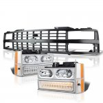 Chevy 1500 Pickup 1988-1993 Black Grille LED DRL Clear Headlights Bumper Lights