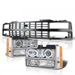 1990 Chevy 3500 Pickup Black Grille LED Halo Clear Projector Headlights Set