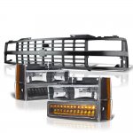 Chevy 3500 Pickup 1988-1993 Black Grille Headlights LED Bumper Lights