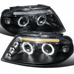 VW Passat 2001-2005 Black Halo Projector Headlights with LED