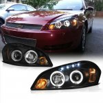 Chevy Impala 2006-2010 Black Dual Halo Projector Headlights with LED