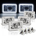 VW Jetta 1980-1984 White LED Halo LED Projector Headlights Conversion Kit Low and High Beams