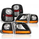 Ford F150 1997-2003 Black Harley Headlights Black Chrome LED Tail Lights Flareside