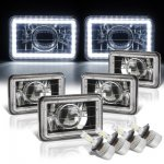 Chevy Celebrity 1982-1986 White LED Halo Black LED Projector Headlights Conversion Kit Low and High Beams