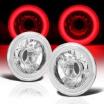 Ford Mustang 1965-1978 Red Halo Tube Sealed Beam Projector Headlight Conversion