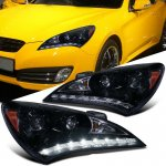 Hyundai Genesis 2010-2012 Smoked Projector Headlights LED DRL