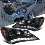 Hyundai Genesis 2010-2012 Black Projector Headlights LED DRL